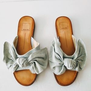 Dolce Vita Parin Denim Bow Slide Sandals